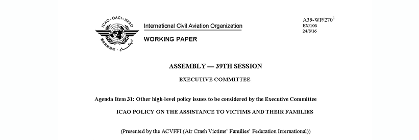 ICAO Policy on the Assistance to Victims and their Families